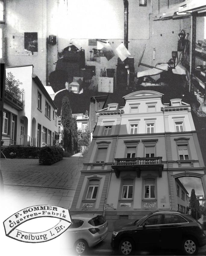 Collage aus historischen Bildern und Dokumenten zur Belfortstraße 17.