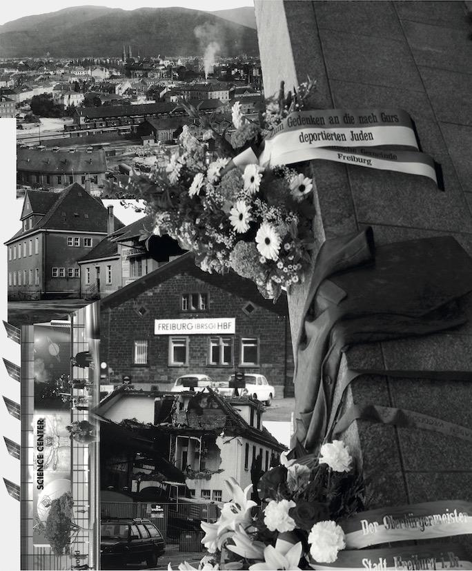 Collage aus historischen Bildern und Dokumenten zum Expressgut-Areal.