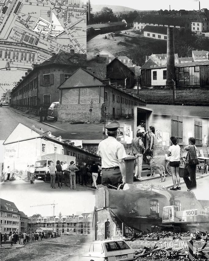 Collage aus historischen Bildern und Dokumenten zur Faulerfabrik.