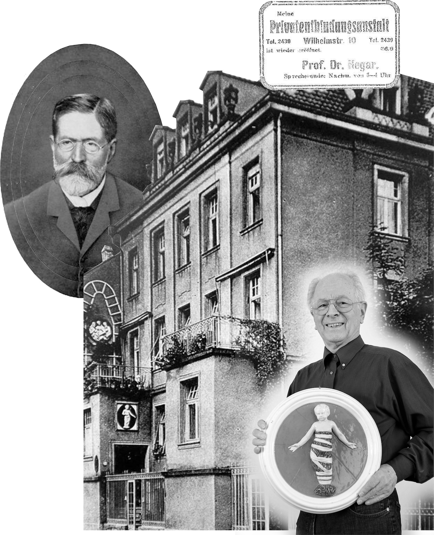 Collage aus historischen Bildern und Dokumenten zur Wilhelmstraße 10.