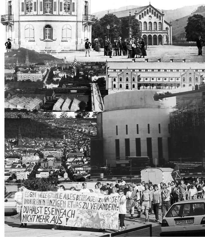Collage aus historischen Bildern und Dokumenten zum Konzerthaus.