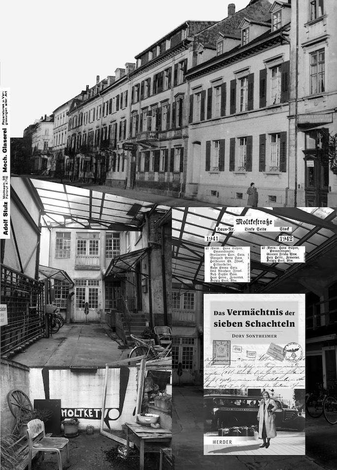 Collage aus historischen Bildern und Dokumenten zur Moltkestraße 38/40.