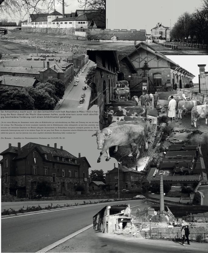 Collage aus historischen Bildern und Dokumenten zum alten Schlachthof.
