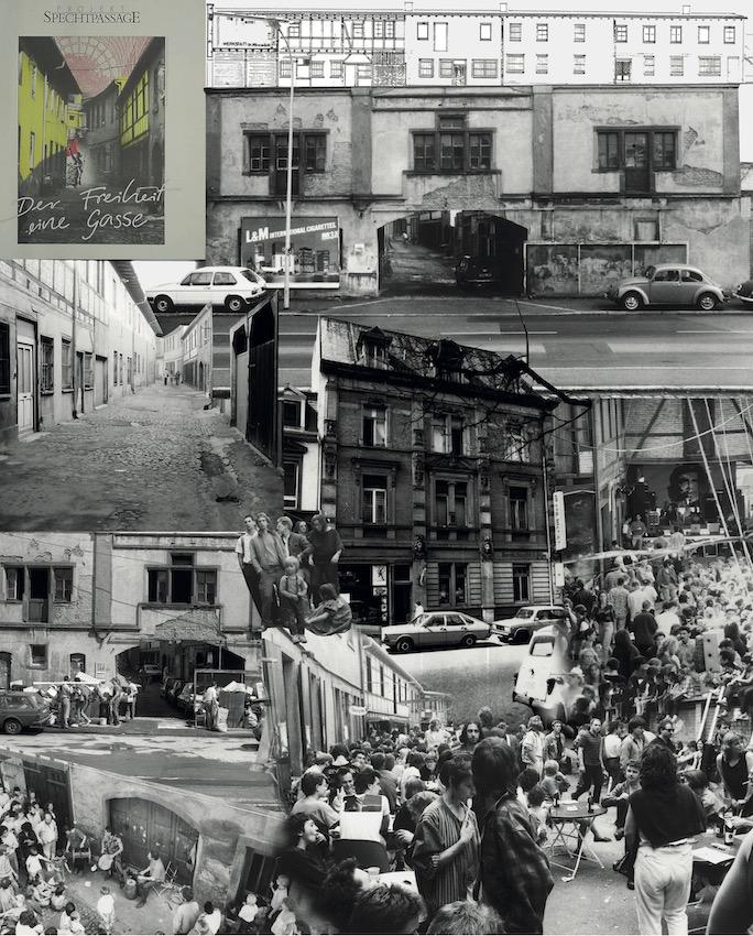 Collage aus historischen Bildern und Dokumenten zur Spechtpassage.