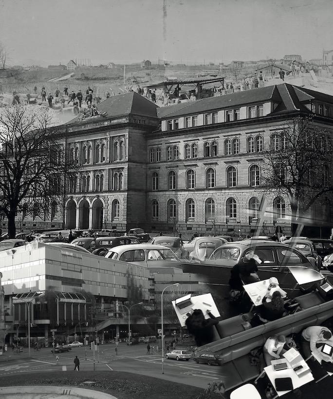 Collage aus historischen Bildern und Dokumenten zur Universitätsbibliothek.