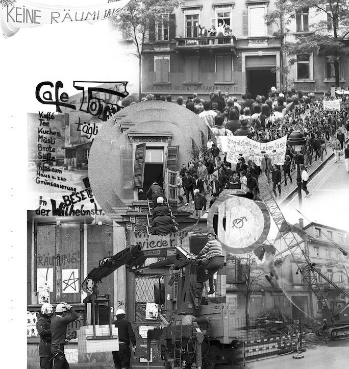 Collage aus historischen Bildern und Dokumenten zum Wilhelmstarße 36.